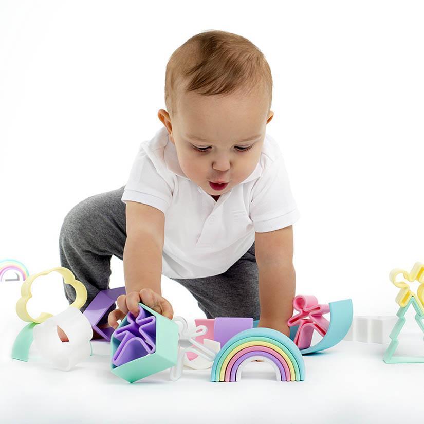 Juguete arco iris de silicona para besbés, sostenible, Meitaimaitie