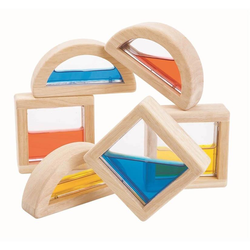 Juguete de madera con líquido de colores para experimentar